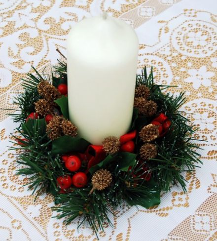 "Hollyberries & Seed Cone 2.5"" Candle Ring"